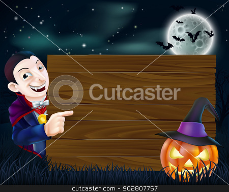 Halloween Dracula wooden sign stock vector clipart, A cartoon Halloween Dracula wooden sign with vampire pointing at a wooden sign and scary pumpkin and bats flying in front of a full moon by Christos Georghiou