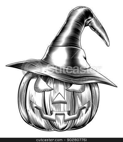 Vintage halloween witch pumpkin stock vector clipart, An illustration of a Halloween pumpkin wearing a witch hat in a retro vintage woodblock or woodcut etching style by Christos Georghiou
