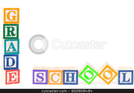 Baby blocks spelling grade school stock photo, Baby blocks spelling grade school. Isolated on white background. by Richard Nelson