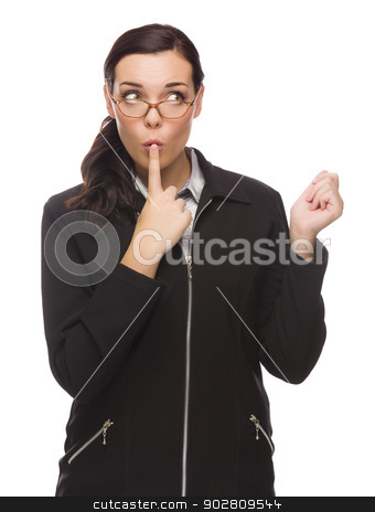 Unsure Mixed Race Businesswoman Puts Finger on Her Lips  stock photo, Unsure Mixed Race Businesswoman Puts Finger on Her Lips Isolated on White Background  by Andy Dean
