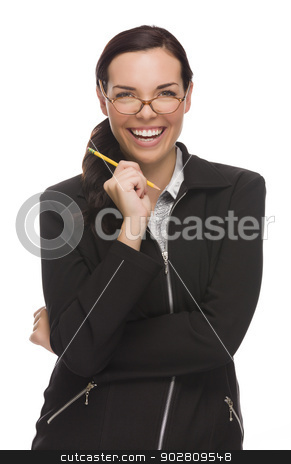 Confident Mixed Race Businesswoman Holding a Pencil stock photo, Confident Mixed Race Businesswoman Holding a Pencil Isolated on a White Background.  by Andy Dean