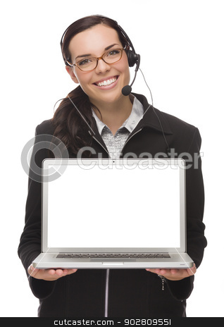 Mixed Race Businesswoman Wearing Headset Holds Computer With Bla stock photo, Confident Mixed Race Businesswoman Wearing Headset Holds Computer With Blank Screen Isolated on a White Background – Contains Clipping Path For Screen.  by Andy Dean
