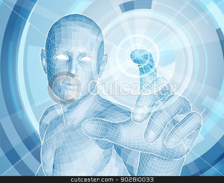 Future technology 3D app concept stock vector clipart, Future technology 3D app concept with blue human man figure touching a touch screen activating something by Christos Georghiou