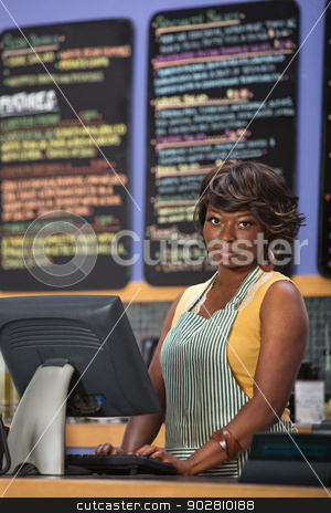 Woman at Cash Register stock photo, Beautiful cafe worker at cash register indoors by Scott Griessel