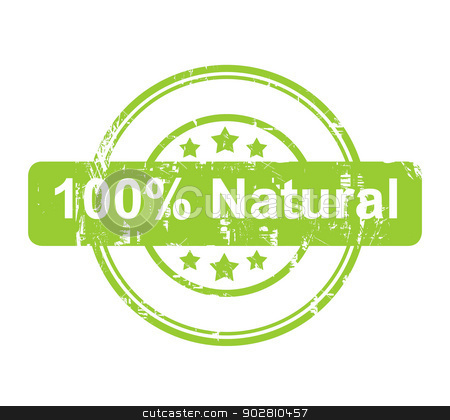 Green 100 percent natural stamp with stars stock photo, Green 100 percent natural stamp with stars isolated on a white background. by Martin Crowdy