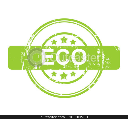 Green Eco stamp with stars stock photo, Green Eco stamp with stars isolated on a white background. by Martin Crowdy
