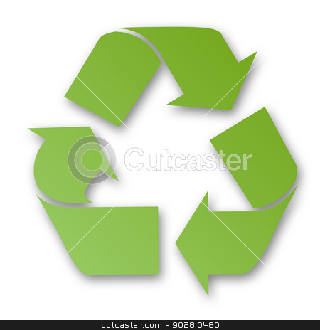 Green recycling sign stock photo, Green recycling sign with white background. by Martin Crowdy