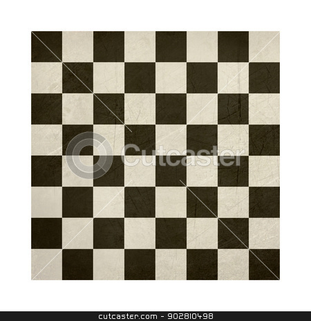 Grunge chess or draughts board stock photo, Grunge chess or draughts board isolated on white background. by Martin Crowdy