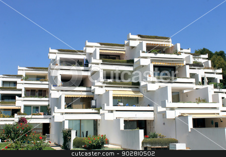 Holiday apartment buildings stock photo, Holiday apartment buildings on island of Majorca, Spain. by Martin Crowdy