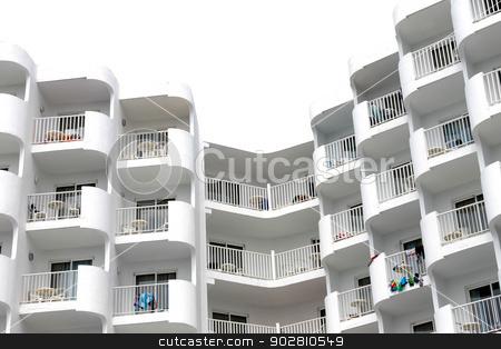Modern white tourist hotel stock photo, Modern white tourist hotel on island of Majorca, Spain. by Martin Crowdy