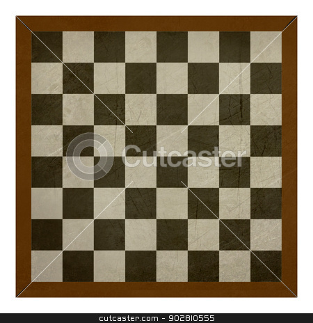 Old wooden grunge chess or draughts board stock photo, Grunge chess or draughts board isolated on white background. by Martin Crowdy