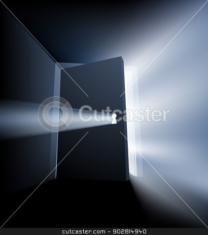 Ajar door light beam concept stock vector clipart, Ajar door light beam conceptual illustration with door opening and light streaming out around the door and through the keyhole by Christos Georghiou