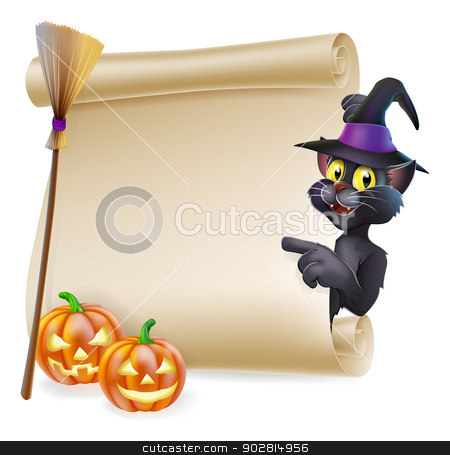 Halloween black cat Scroll stock vector clipart, A Halloween black cat in witch's pointed hat pointing at the sign. Also with witch broom and carved pumpkins. by Christos Georghiou