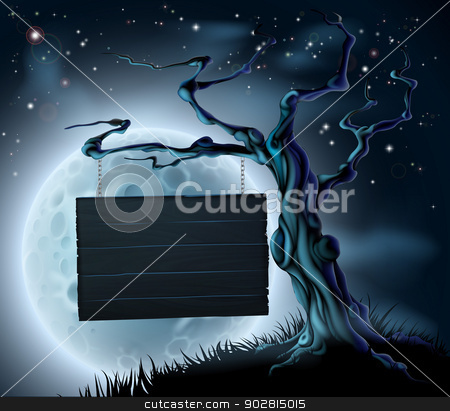 Halloween Wooden Sign Background stock vector clipart, A scary Halloween wooden sign suspended from a spooky tree with space for your text  by Christos Georghiou