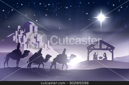 Nativity Christmas Scene stock vector clipart, Christmas Christian nativity scene with baby Jesus in the manger in silhouette, three wise men or kings and star of Bethlehem with the city of Bethlehem in the distance by Christos Georghiou