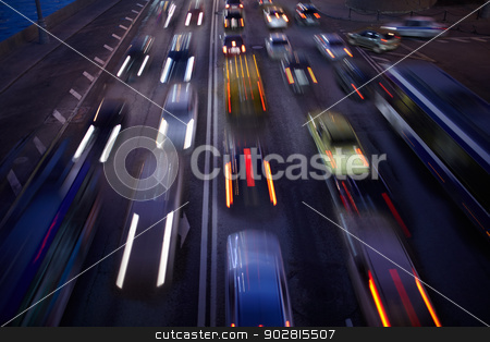 Car traffic at night. Motion blurred background. stock photo, Car traffic at night. Motion blurred background. Long exposure shot. by danr13