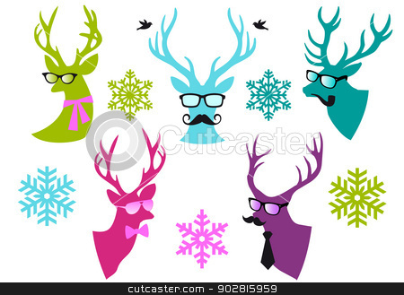 Christmas deer heads, vector set stock vector clipart, Christmas deer  heads with mustache and spectacles, set of vector design elements by Beata Kraus