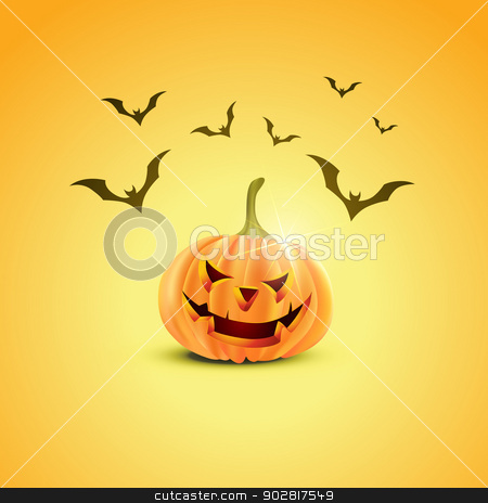 halloween pumpkin design stock vector clipart, stylish halloween pumpkin design with flying bats by pinnacleanimates