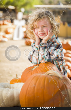 Little Boy Smiles While Leaning on Pumpkin at Pumpkin Patch stock photo, Adorable Little Boy Smiles While Leaning on a Pumpkin at a Pumpkin Patch in a Rustic Setting. by Andy Dean