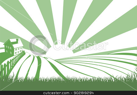 Sunshine Over Hill Fields stock vector clipart, An idyllic farm landscape with farmhouse and rolling hills with sunrise over the fields by Christos Georghiou
