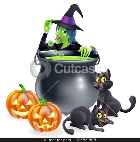 Witch Cartoon Halloween Scene stock vector clipart, A cartoon Halloween scene with witch tipping her hat and cooking a bubbling cauldron full of green witch brew by Christos Georghiou