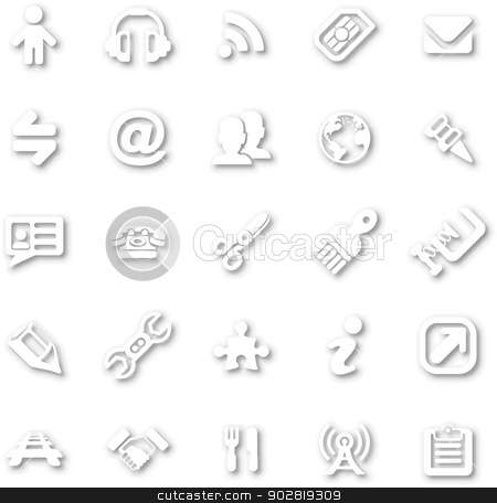 White minimalist icon set stock vector clipart, A white minimalist style cutout icon set with drop shadows for all your web and app needs by Christos Georghiou