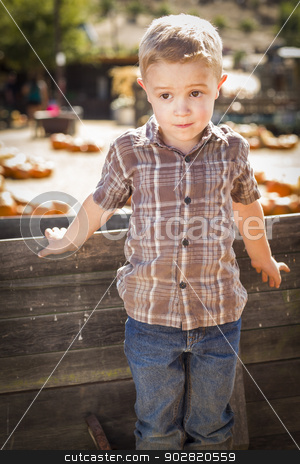 Little Boy Standing Against Old Wood Wagon at Pumpkin Patch stock photo, Adorable Little Boy Standing Against Old Wood Wagon at Pumpkin Patch in Rural Setting.  by Andy Dean