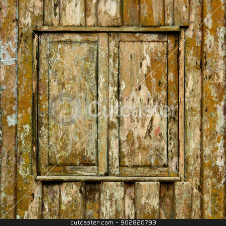 Shuttered window of old wooden house stock photo, Shuttered window of old wooden grunge house by Alexey Romanov