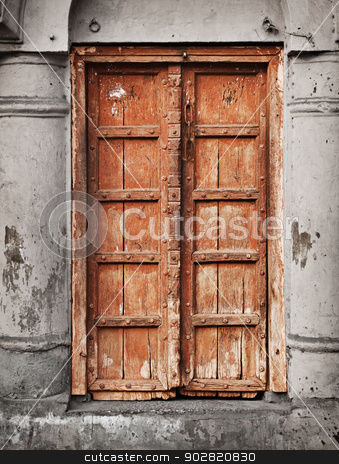 Old wooden door - Indian architecture stock photo, Old grunge wooden door - Indian architecture by Alexey Romanov