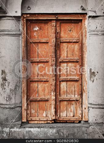 Old wooden door - Indian architecture stock photo, Old grunge wooden door - Indian architecture by Alexey Romanov