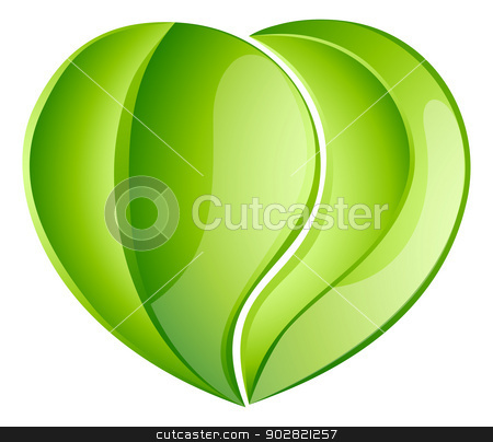 Environmental charity love leaf heart stock vector clipart, Environmental charity love green leaf heart concept. Leaves growing into a heart shape, concept for any environmental conservation issue, charity work or earth day by Christos Georghiou