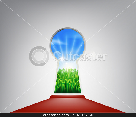 Red carpet idyllic landscape keyhole door stock vector clipart, Keyhole entrance with an idyllic grassy field representing the future, success, a new opportunity or positive change by Christos Georghiou