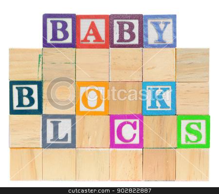 Letter blocks spelling baby blocks stock photo, Letter blocks spelling baby blocks. Isolated on a white background. by Richard Nelson