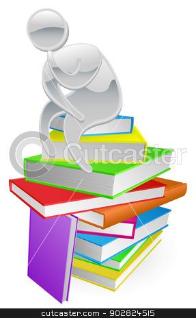 Thinking thinker on books stock vector clipart, Concept illustration of a person thinking in thinker pose while sitting on a stack of books by Christos Georghiou