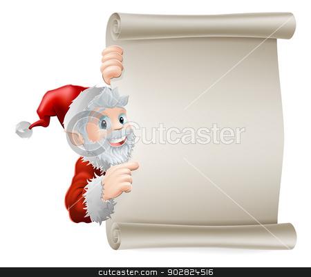 Cartoon Santa Christmas Scroll stock vector clipart, Cartoon Santa Christmas sign of cute cartoon Santa pointing sideways at a scroll poster sign by Christos Georghiou