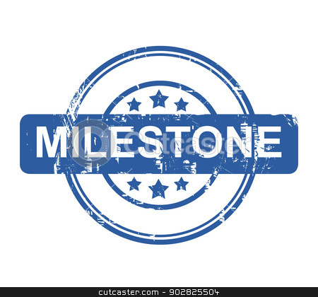 Milestone stock photo, Business milestone stamp with stars isolated on a white background. by Martin Crowdy
