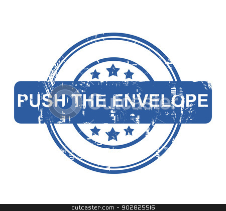 Push the envelope stock photo, Push the envelope business stamp with stars isolated on a white background. by Martin Crowdy