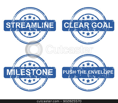 Set of four business concept stamps stock photo, Set of four business concept stamps with stars isolated on a white background. by Martin Crowdy