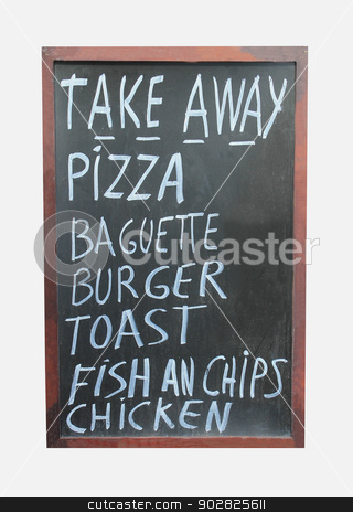 Takeaway food sign stock photo, Takeaway food sign isolated on white background. by Martin Crowdy
