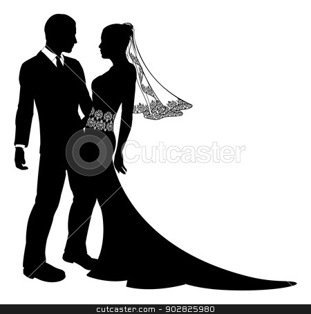 Bride and groom wedding couple silhouette stock vector clipart, An illustration of a bride and groom wedding couple in silhouette with beautiful bridal dress with veil and lace abstract floral pattern.  by Christos Georghiou