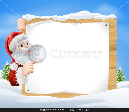 Snow scene Christmas Santa Sign stock vector clipart, An illustration of a snow scene Christmas Santa sign with Santa Claus peeking round the sign and pointing in the middle of a winter landscape by Christos Georghiou