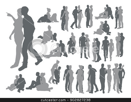 Highly detailed couple silhouettes stock vector clipart, High quality detailed silhouettes of a young couple in various poses by Christos Georghiou