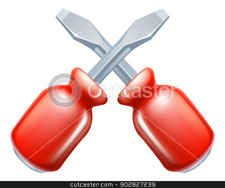 Crossed screwdrivers icon stock vector clipart, Crossed screwdrivers icon of cartoon tools crossed, construction or DIY or service concept by Christos Georghiou