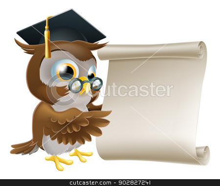 Owl With Scroll Document stock vector clipart, Illustration of a cute owl character in professor's or teacher's mortar board pointing at a scroll document, perhaps a certificate, diploma or other qualification, or just an announcement. by Christos Georghiou