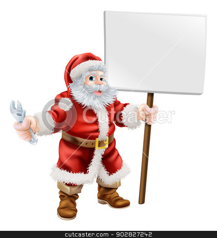 Santa holding spanner and sign stock vector clipart, Cartoon illustration of Santa holding a spanner and sign, great for mechanic, plumber or hardware shop Christmas sale or promotion by Christos Georghiou