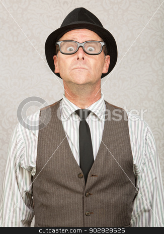 Afraid Man stock photo, Frightened white businessman with hat and eyeglasses by Scott Griessel