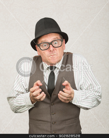 Upset Man Clenching Fists stock photo, Single upset businessman with eyeglasses clenching fists by Scott Griessel
