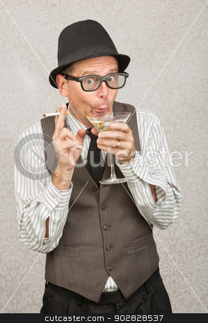 Giddy Man Drinking stock photo, Giddy man holding cigarette and martini with hat and eyeglasses by Scott Griessel