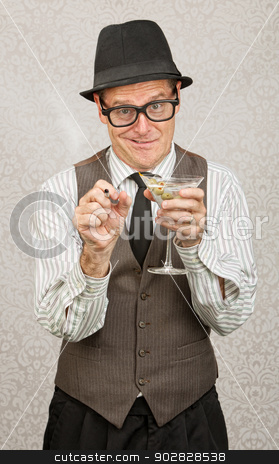 Goofy Drunk Man stock photo, Goofy Caucasian businessman with alcohol and cigarette by Scott Griessel