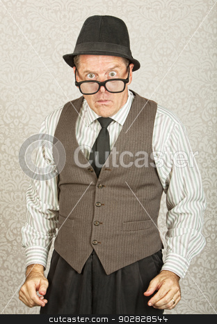 Dumbfounded Man stock photo, Dumfounded businessman with hat and eyeglasses by Scott Griessel